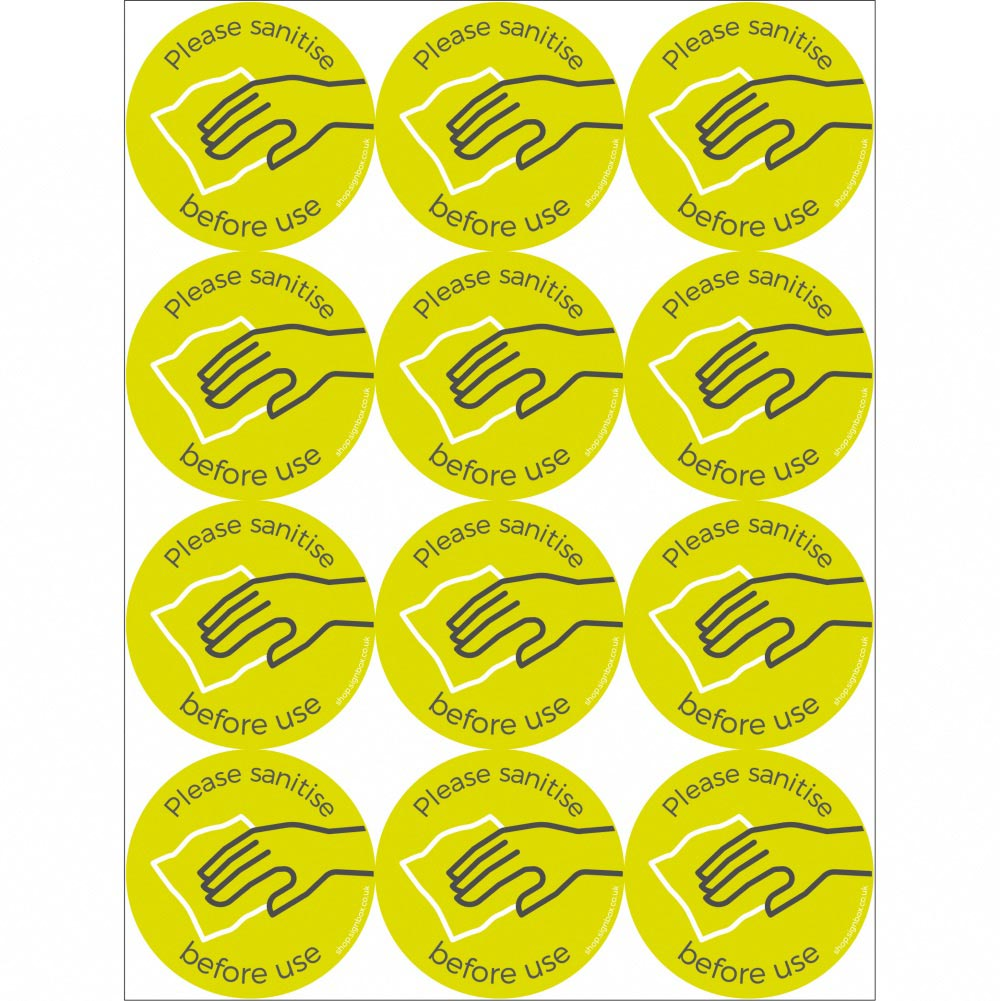 Social Distancing Stickers - Sanitise Before Use