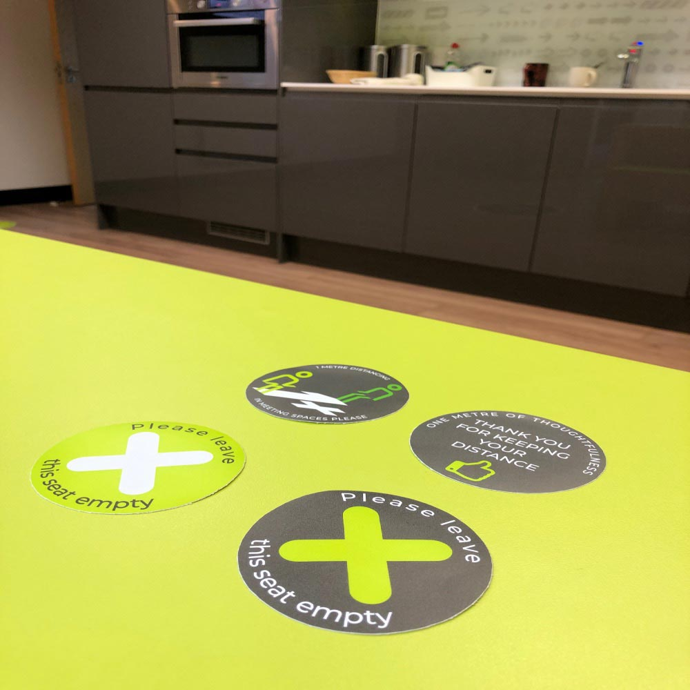 re-peelable stickers for identifying hygienic surfaces