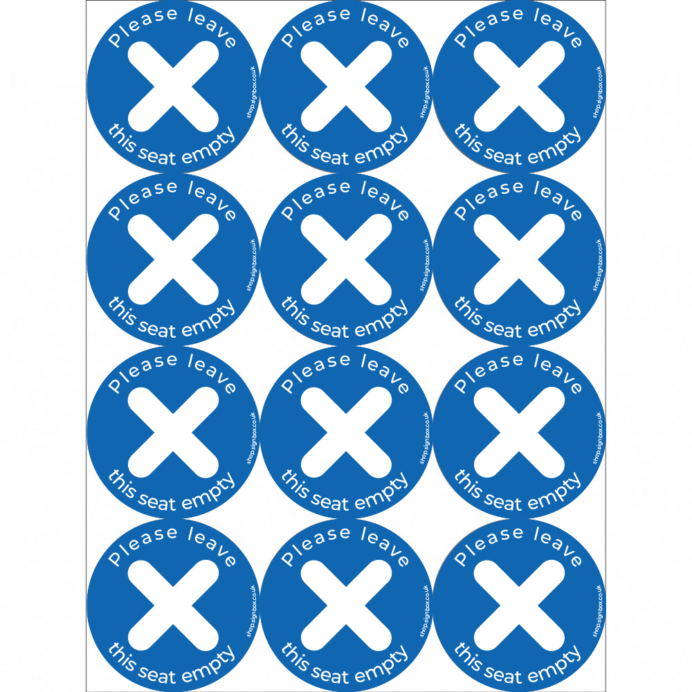 Social Distancing Stickers - Leave Seat Empty