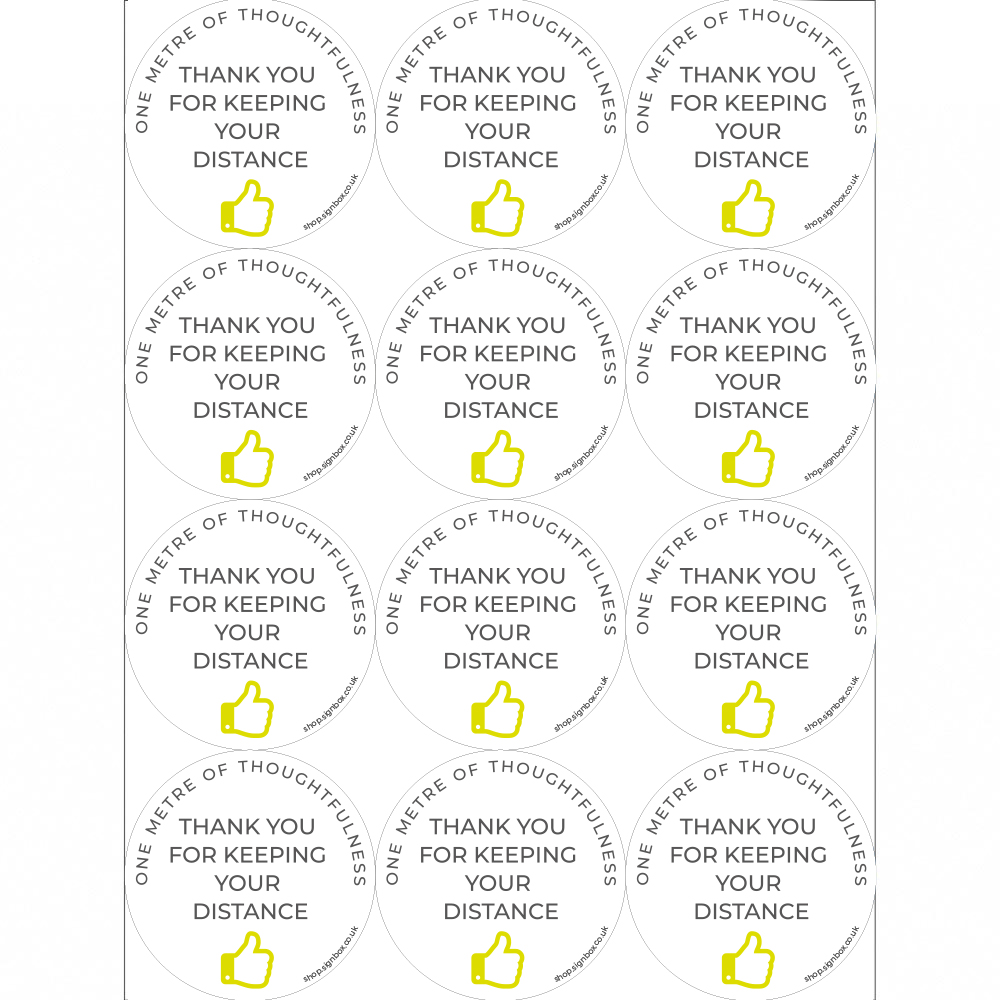 Social Distancing Stickers - Thank you for keeping your distance