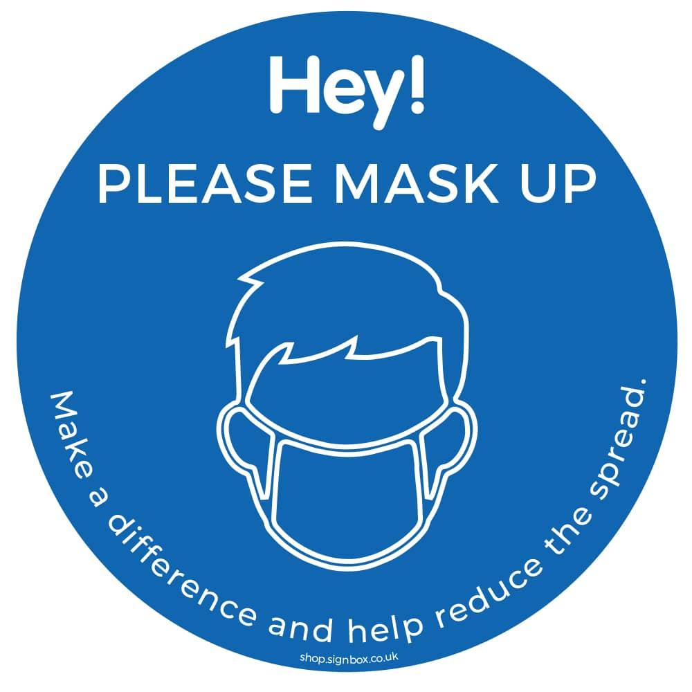 Please Wear a Mask - Window Sticker - Blue