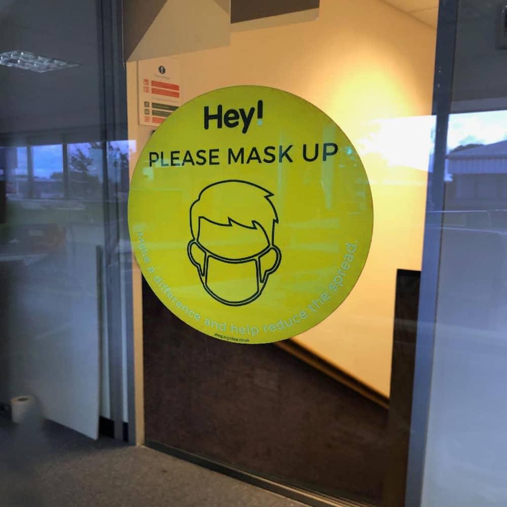 Please Wear a Mask - Window Sticker - Lime Green