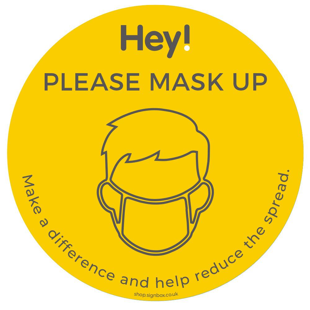 Please Wear a Mask - Window Sticker - Yellow