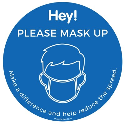 Please Wear a Mask - Window Sticker - Blue