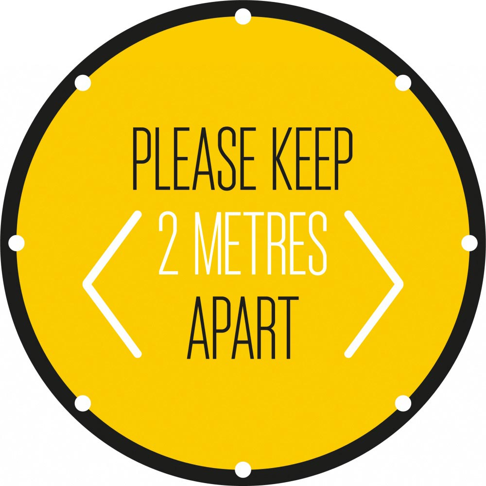 Please Keep 2 Metres Apart - Yellow
