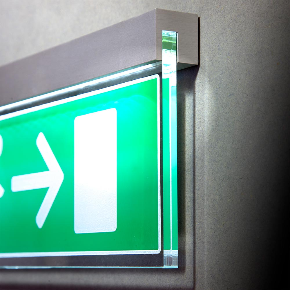 Wall mounted fire exit sign