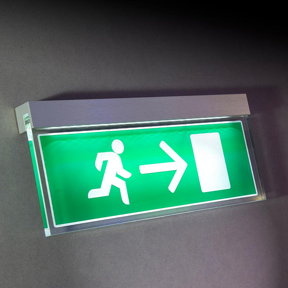 Illuminated fire exit sign