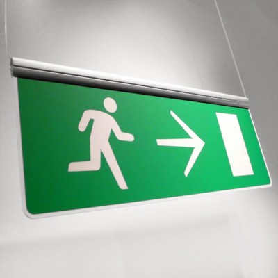 Suspended fire exit sign