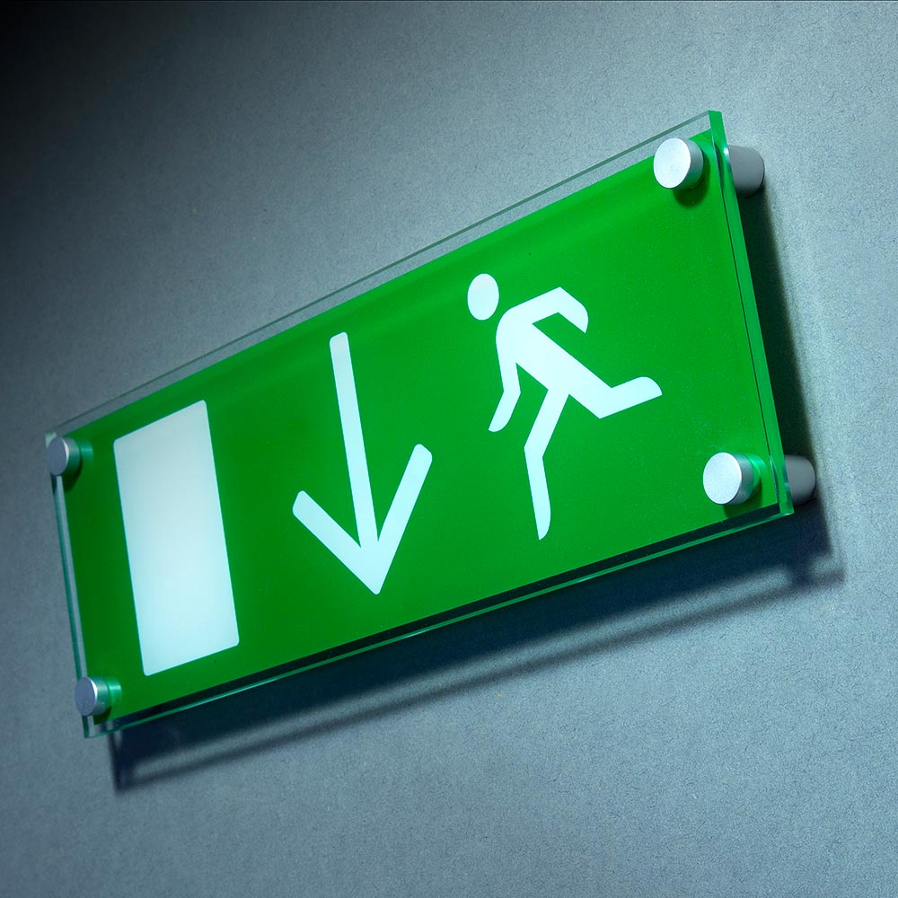 acrylic fire exit sign