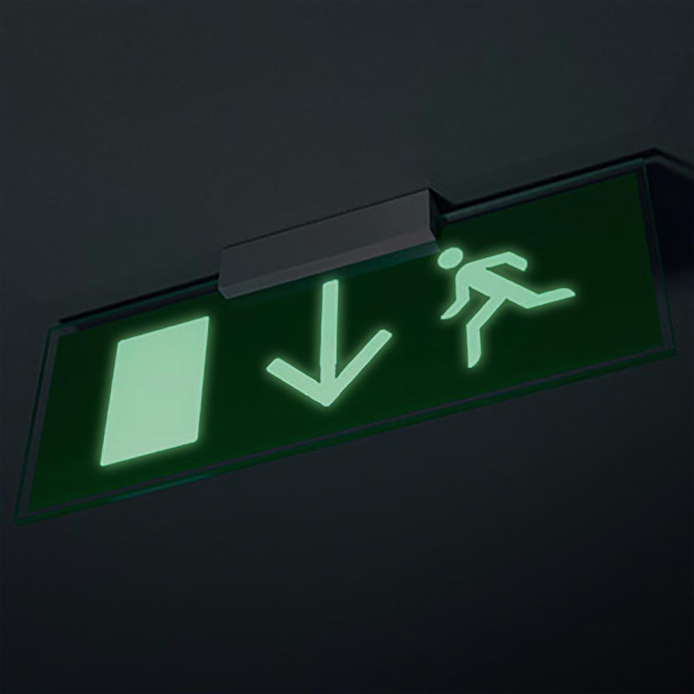 Photo-luminescent Ceiling/Wall Mounted Fire exit safety sign