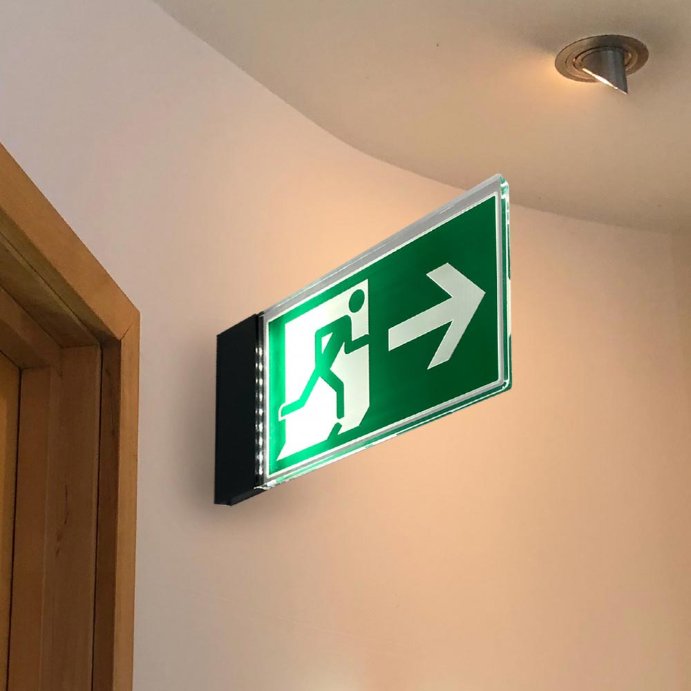 fire exit sign illuminated