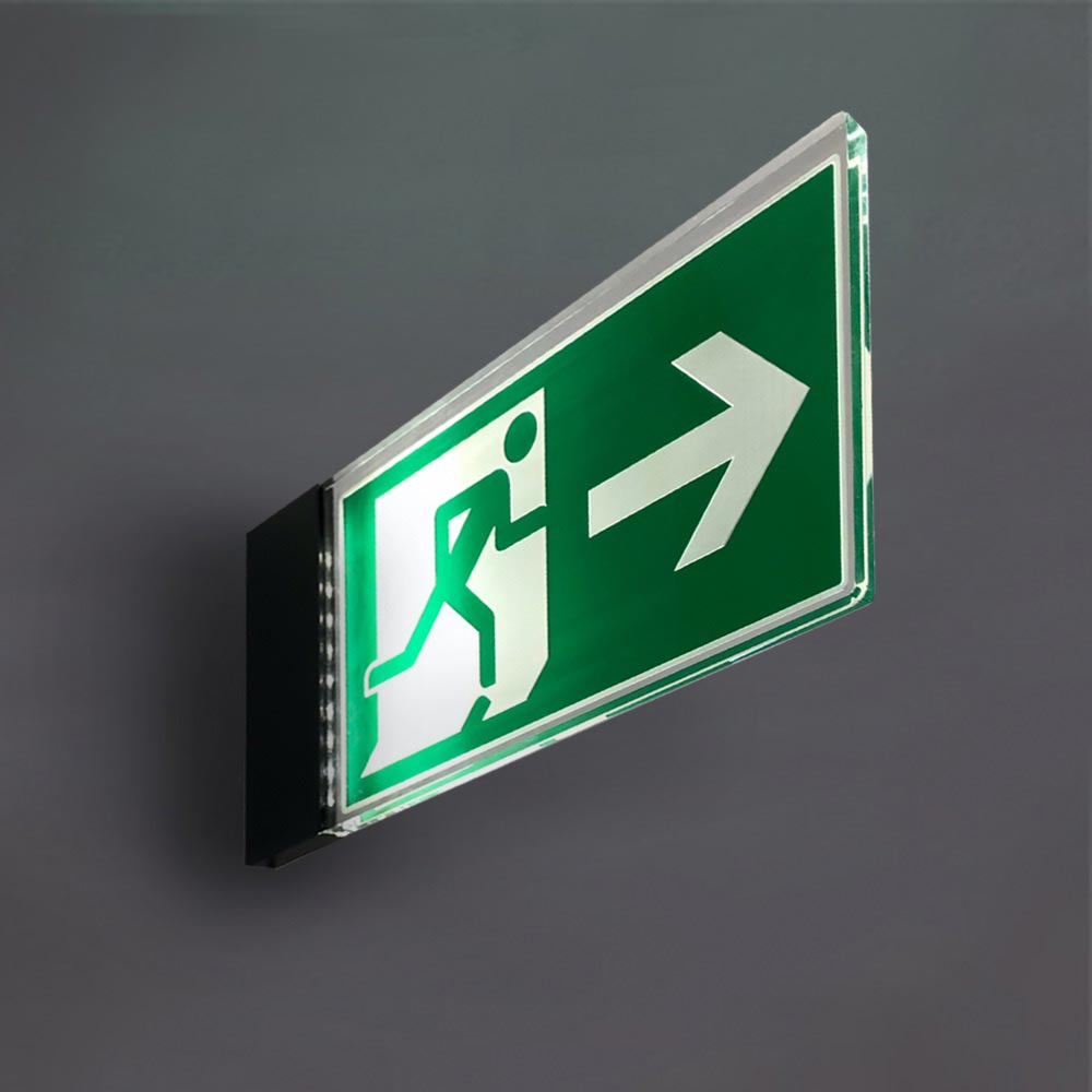 Flag illuminated fire exit sign