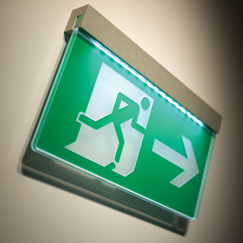 Illuminated Fire Exit Sign Wall Or Ceiling Mounted Signbox