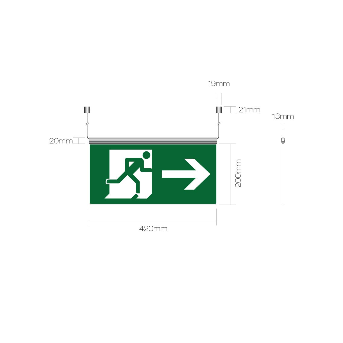 Ceiling suspended blade fire exit sign