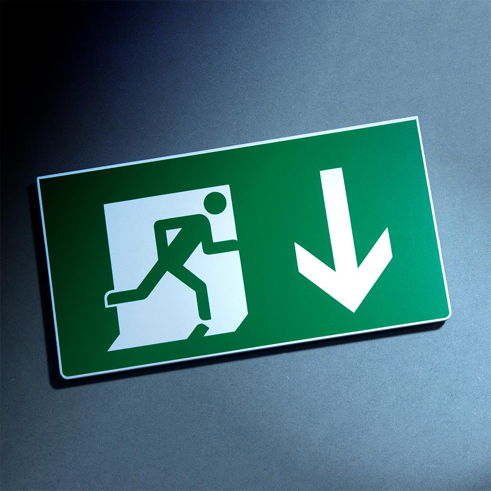 Fire exit safety sign, glow in the dark photoluminescent