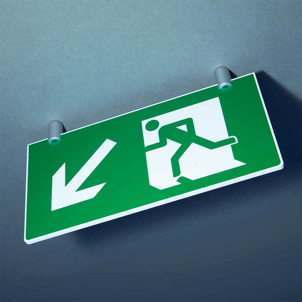 Elegant ceiling-suspended fire exit sign