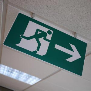 Cost-effective ceiling-suspended fire exit sign