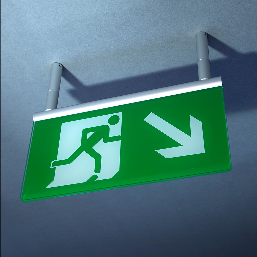 Ceiling-suspended fire exit sign