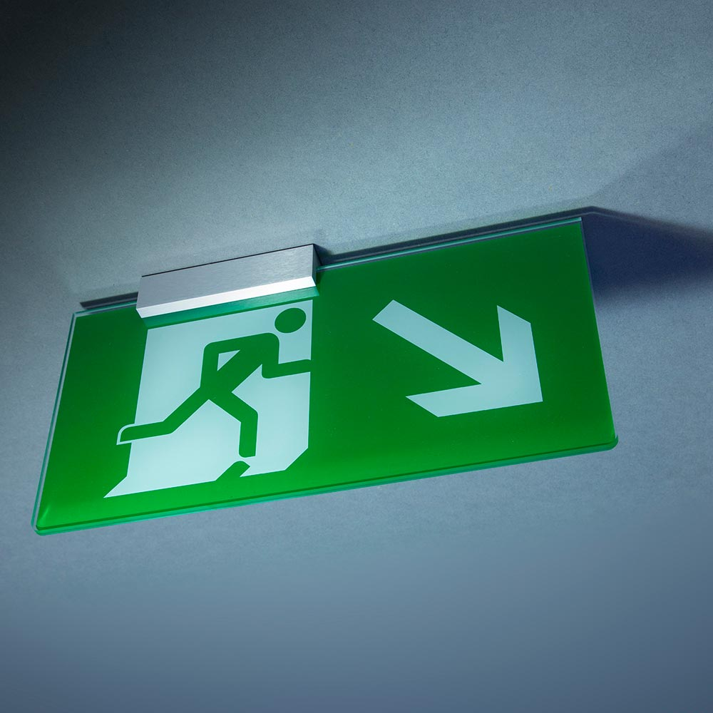 Glass-look fire exit sign