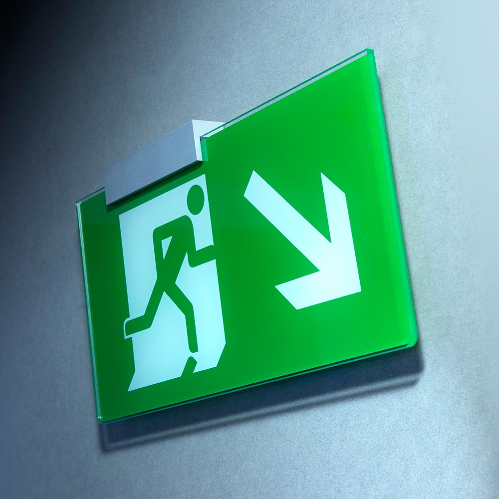 Wall-mounted fire exit sign