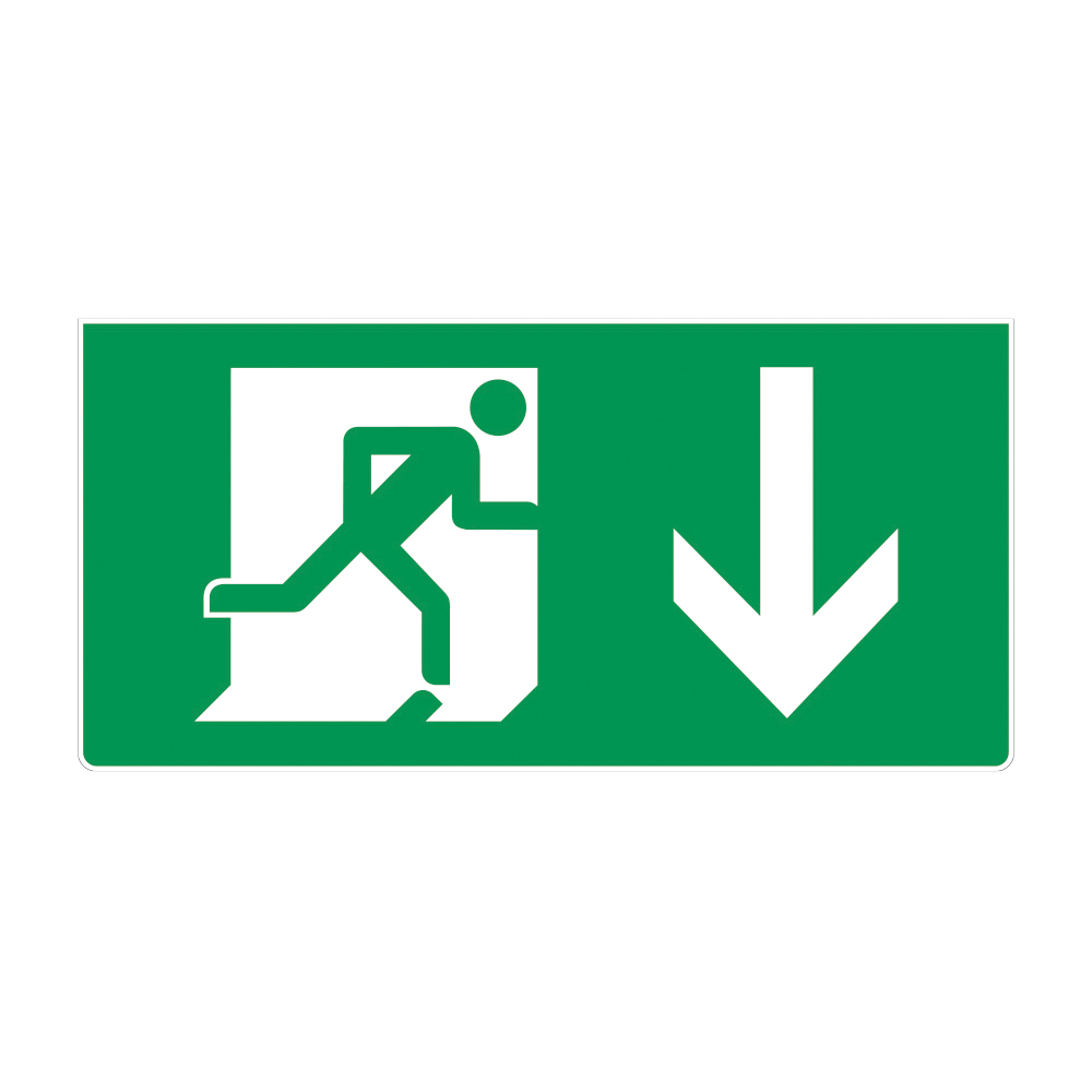 Fire Exit Sign - Down Arrow