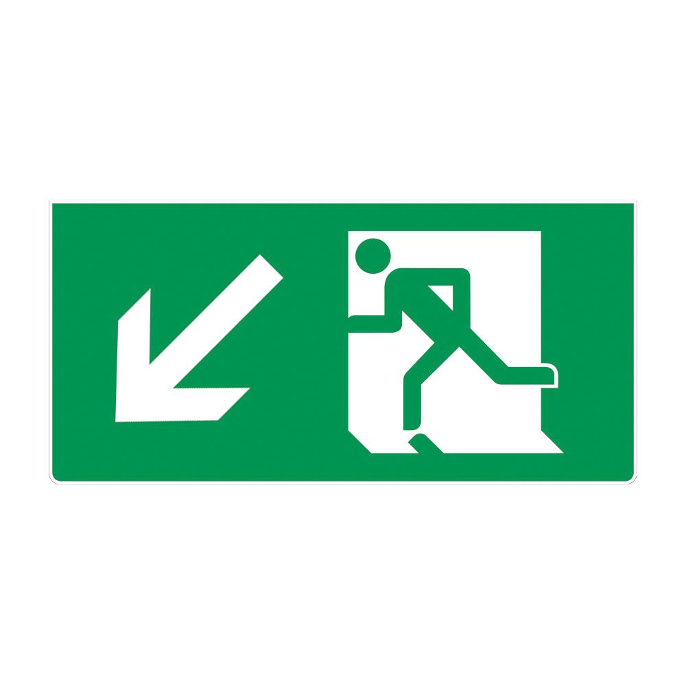 Fire Exit Sign - Down Left Arrow
