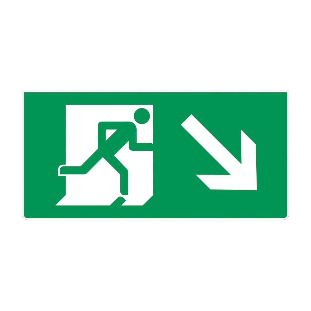 Fire Exit Sign - Down Right Arrow