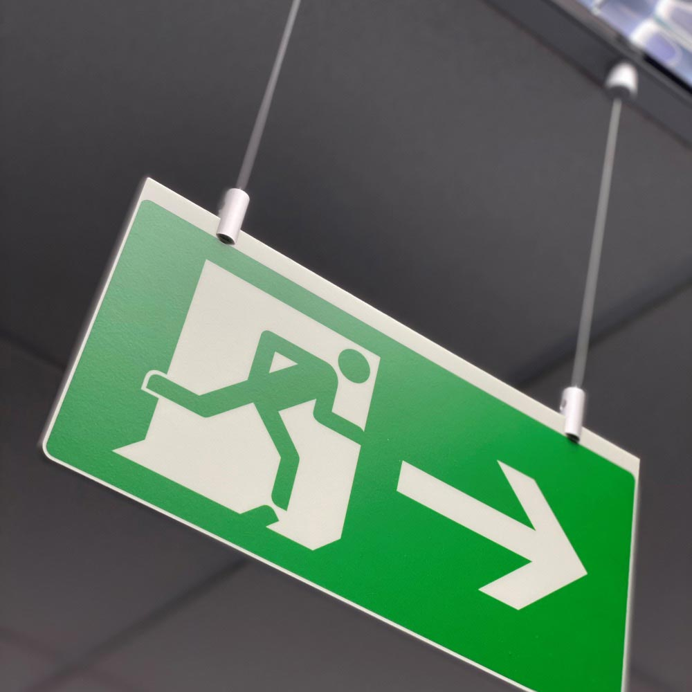 BS EN ISO 7010 MAGFIX - PHOTOLUMINESCENT CEILING SUSPENDED CABLE DROP FIRE EXIT SIGN - MAGNETIC