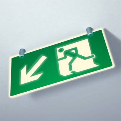 EN7010 MAGFIX - Photoluminescent ceiling suspended fire exit sign - Magnetic