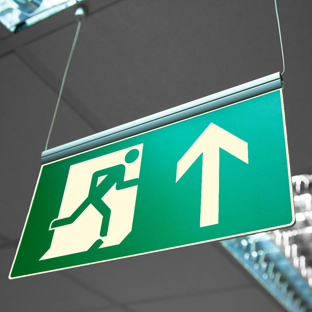 ISO 7010 FE BLADE - Photoluminescent ceiling hanging fire exit safety sign