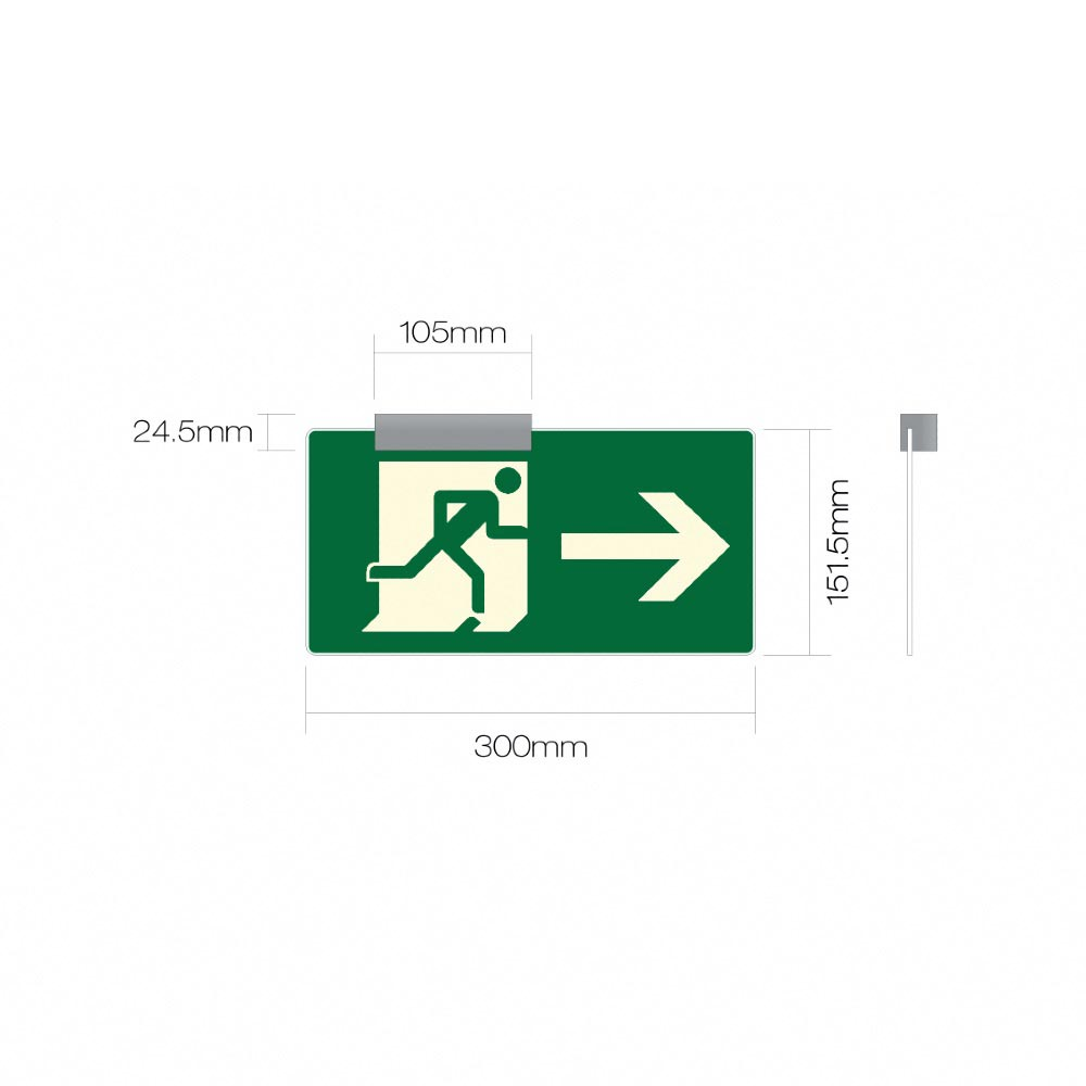 EN ISO 7010 -  XBLOCK - PHOTOLUMINESCENT - FIRE EXIT SAFETY SIGN