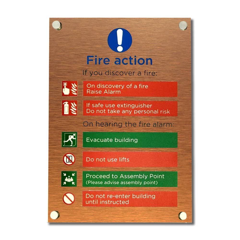 Fire Action Sign - Brushed Copper with Project Fix