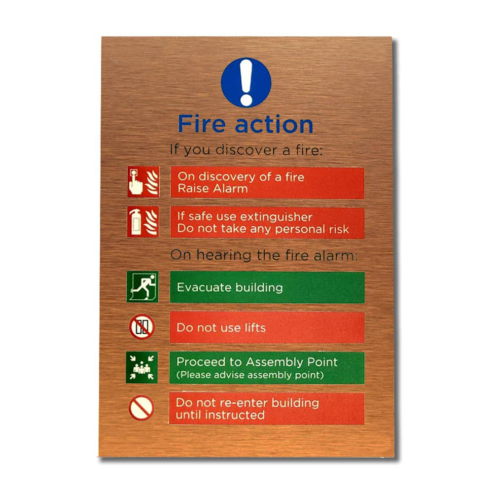 Fire Action Sign - Brushed Copper with tape