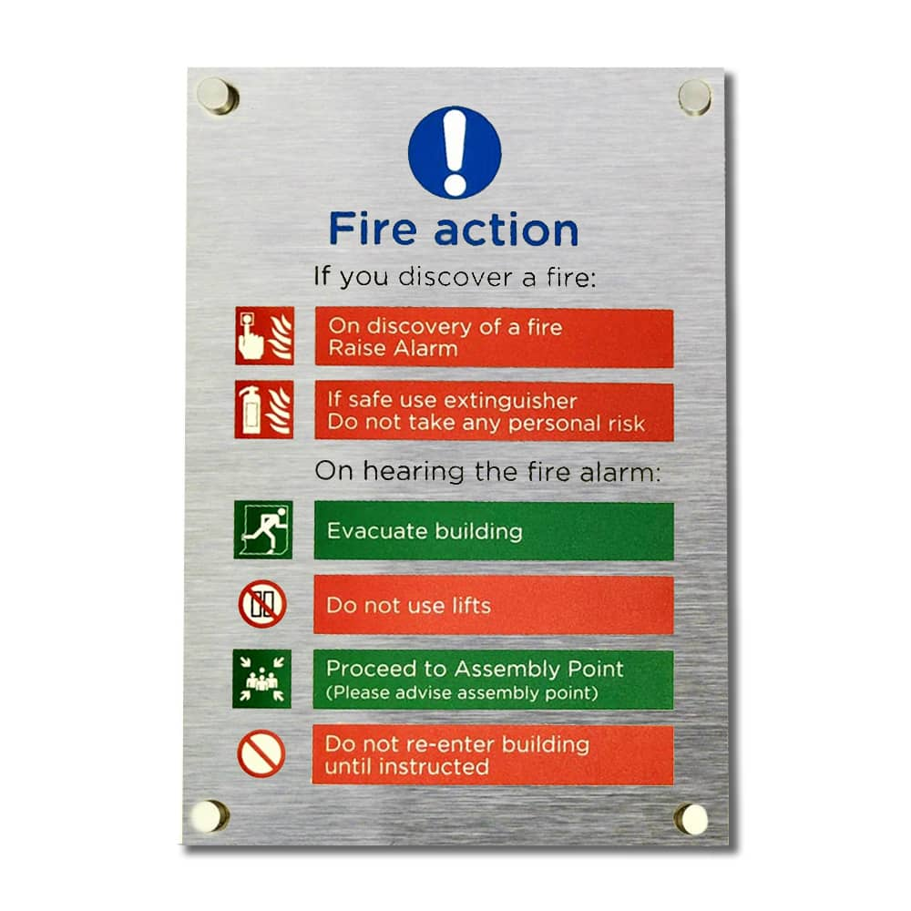 Fire Action Sign - Brushed Silver with Project Fix