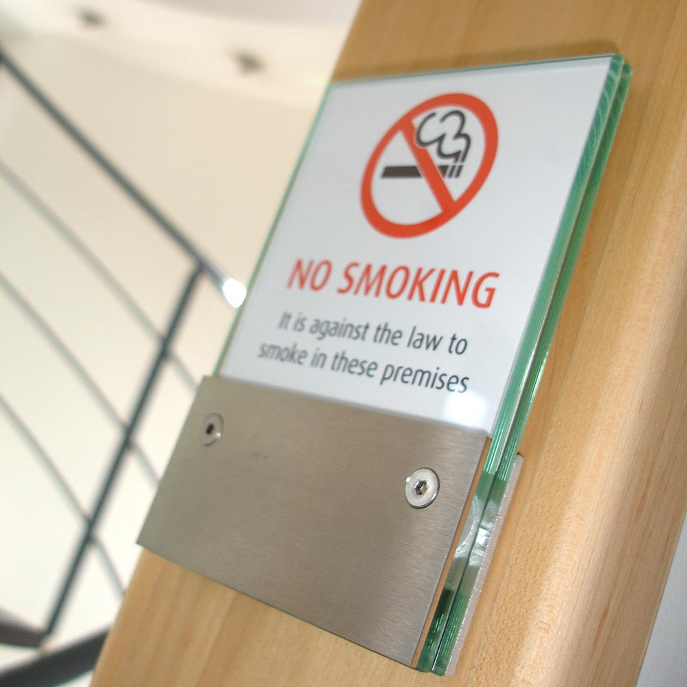 No Smoking architectural wayfinding sign