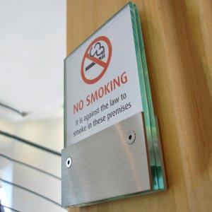 No Smoking architectural wayfinding sign