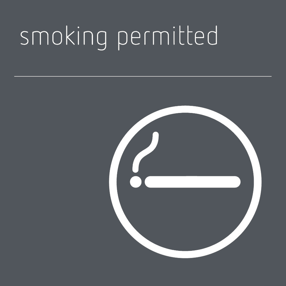 Smoking permitted sign - Mineral Grey
