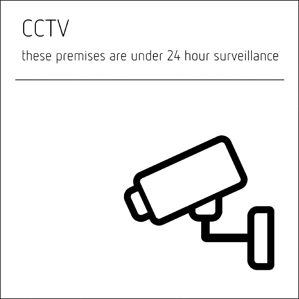 CCTV Sign - white acrylic with black text