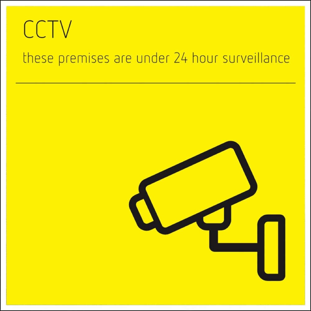 CCTV Sign - white acrylic with yellow print