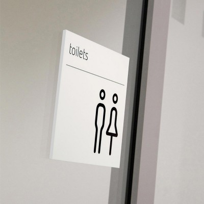 Moon white Toilets door sign