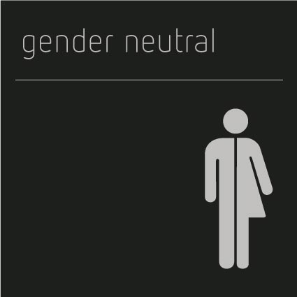 Gender Neutral Toilet Sign, Shadow Black