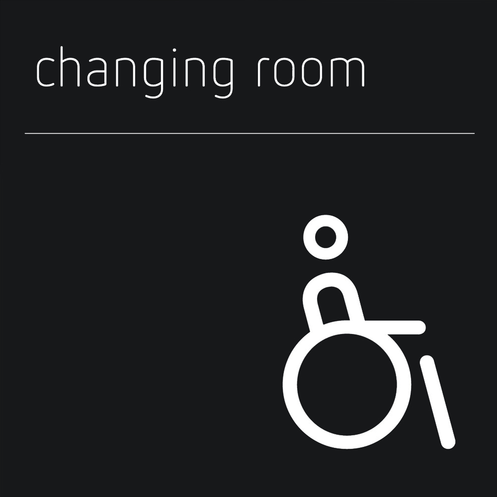 Matt Black Range Icon Signs - Accessible Changing Room