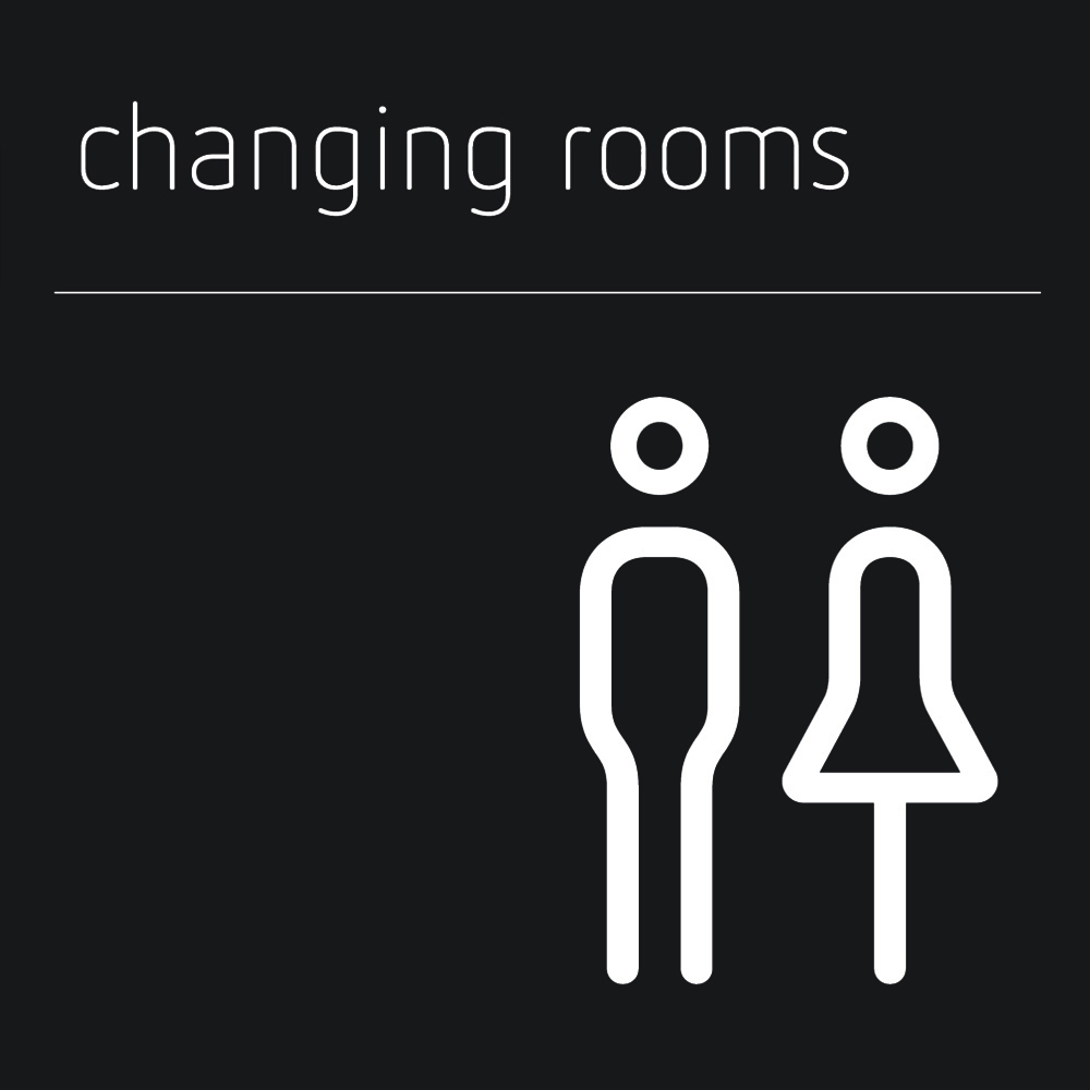 Matt Black Range Icon Signs - Male and Female