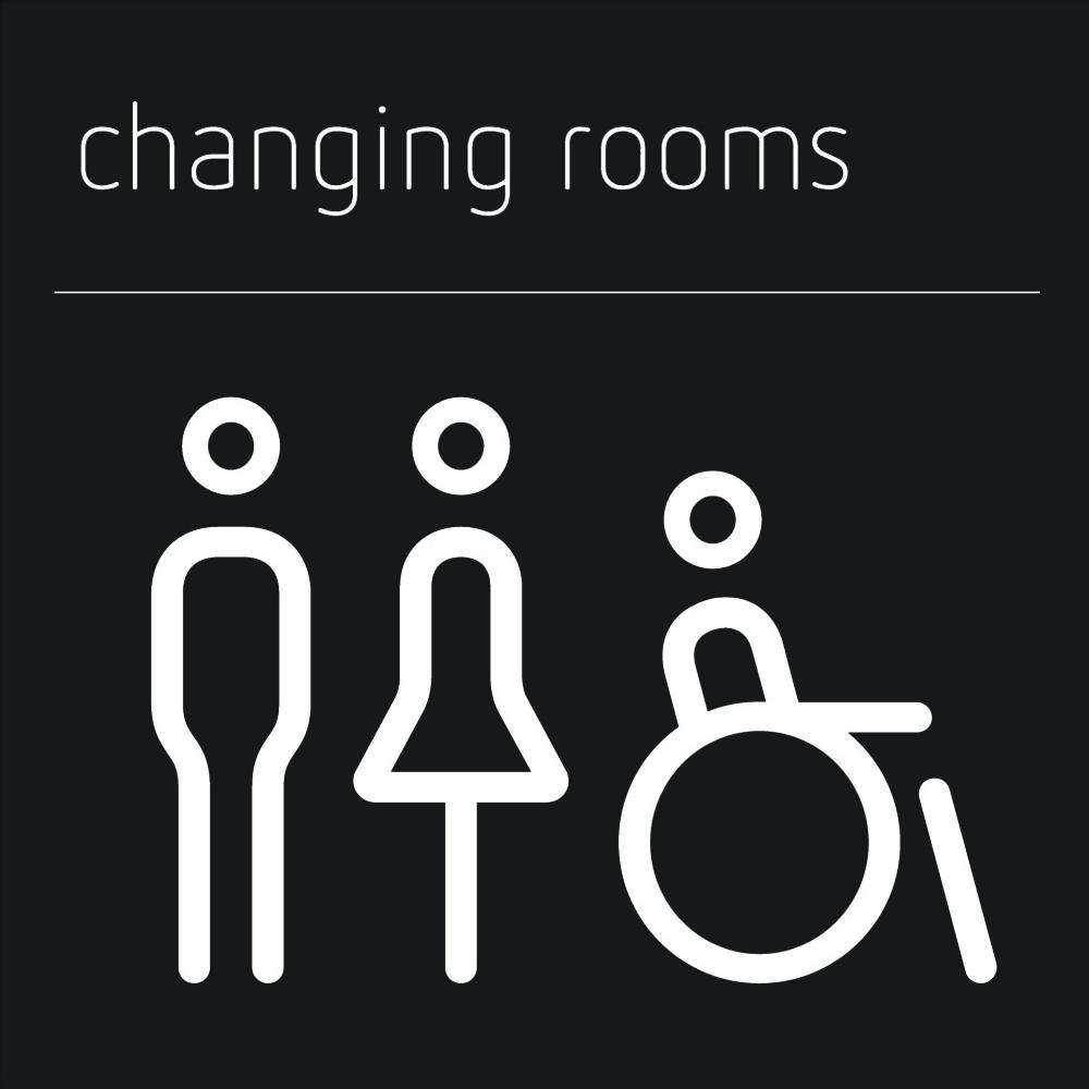 Matt Black Range Icon Signs - Male, Female, Accessible