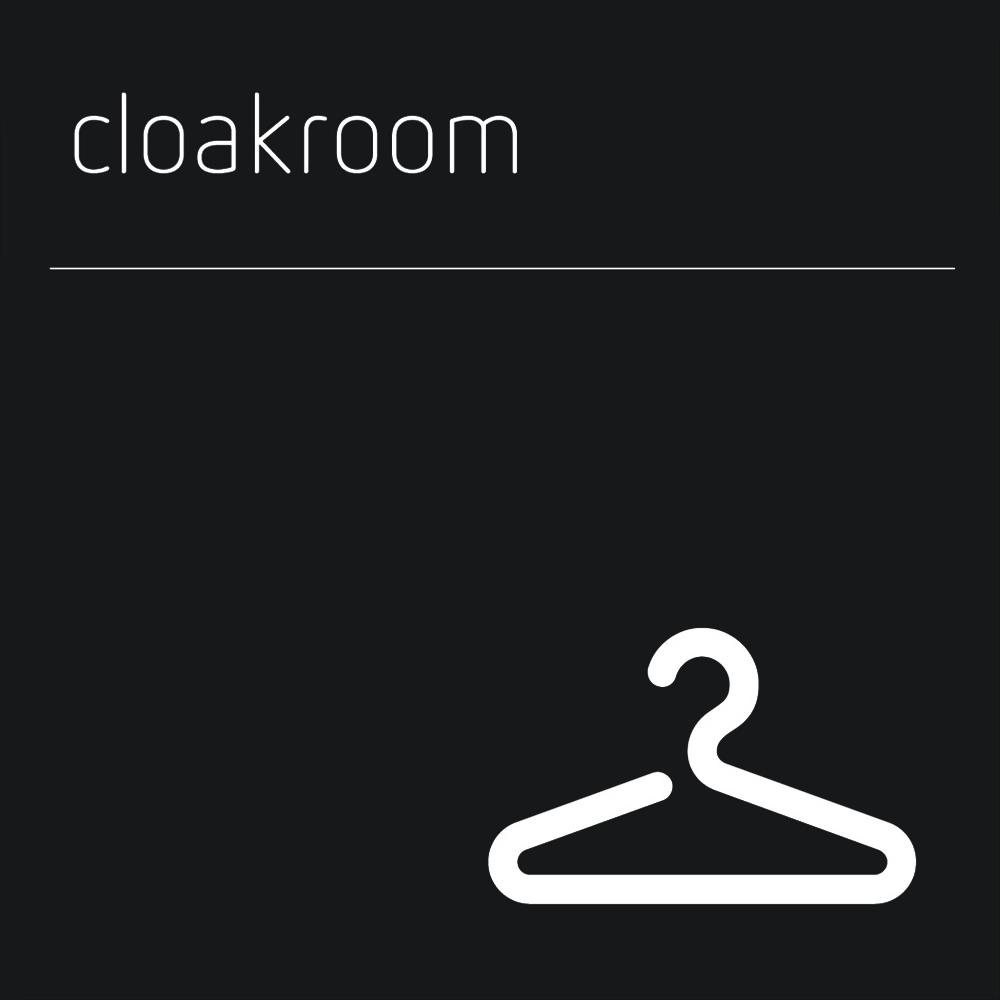Matt Black Range Icon Signs - Cloakroom