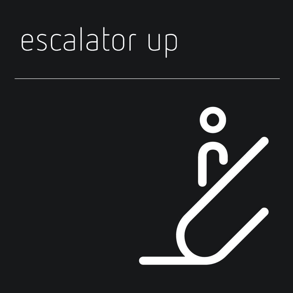 Matt Black Range Icon Signs - Escalator