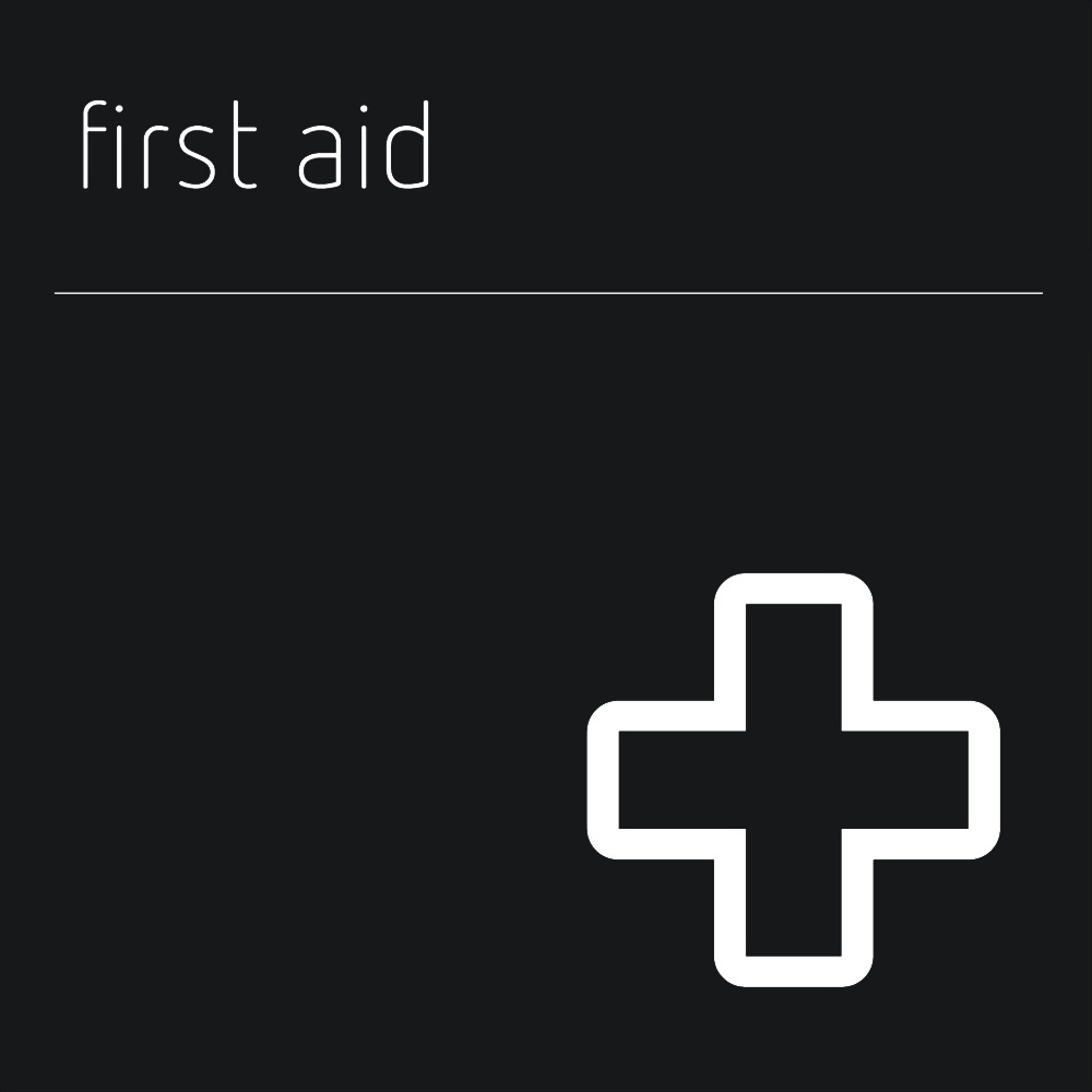 Matt Black Range Icon Signs - First Aid