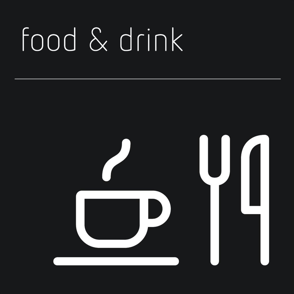 Matt Black Range Icon Signs - Food and Drink