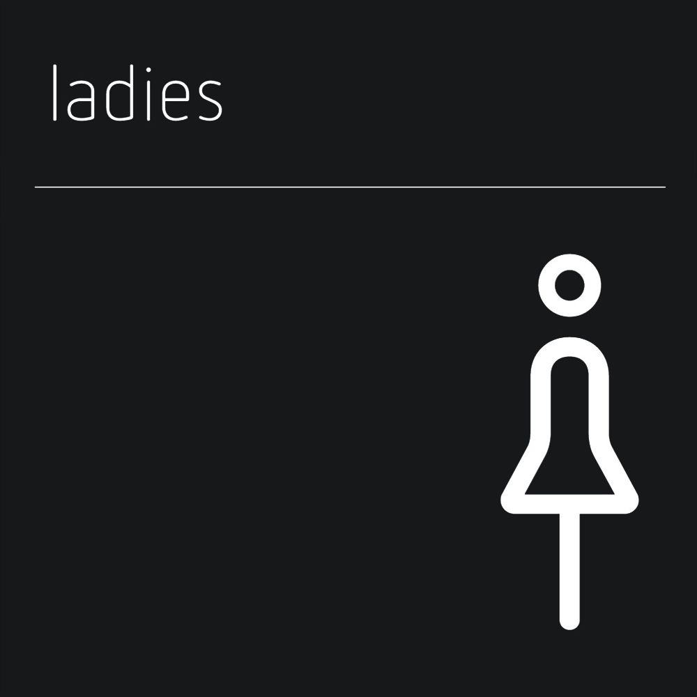 Matt Black Range Icon Signs - Ladies