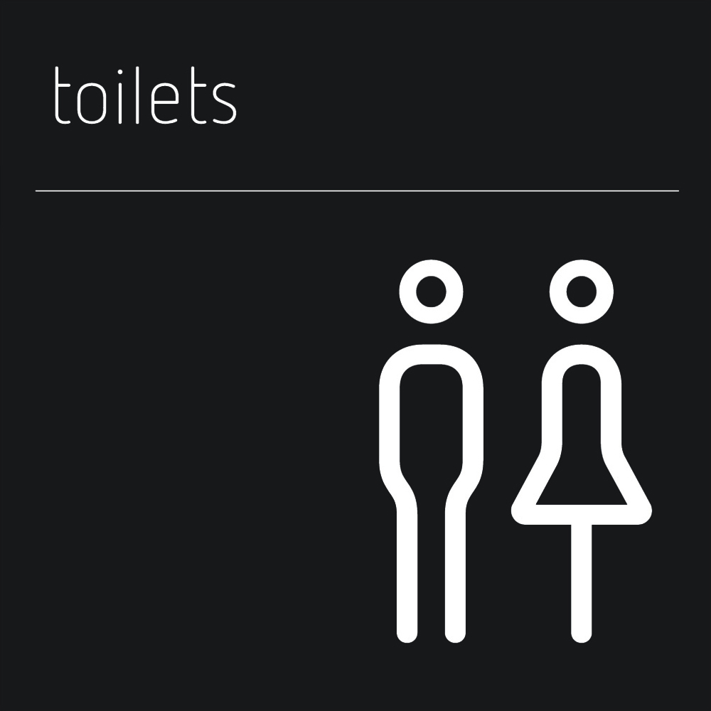 Matt Black Range Icon Signs - Toilets